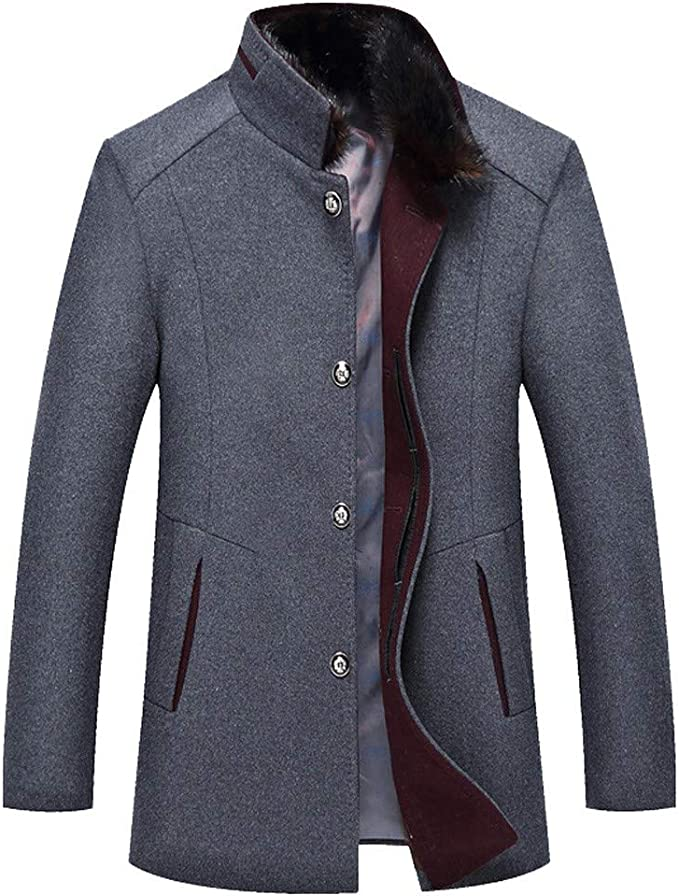 YOCheerful Mens Business Jacket Classic Wool Trench Coat Slim Overcoat Office Formal Work wear Outerwear