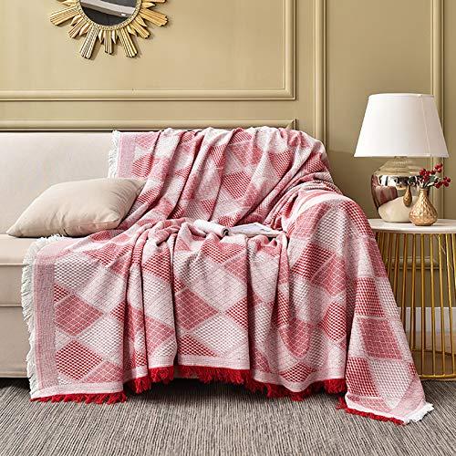 TIYKI Cubierta De Sofá De Tela Simple,Super Soft Funda para Sofá,Cubiertas De Sofá Cama,Protector De Muebles para Perros Mascotas-Rojo 180x260cm(71x102inch)