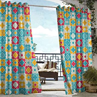 Outdoor Balcony Privacy Curtain Quatrefoil,Clover Leaves Barb Style Clover Lattice Boho Colorful Kids Themed, Red Turquoise Yellow,W72