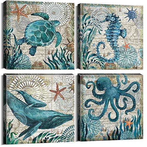 ZDFDC Ozean Thema Leinwanddrucke Meerestier Krake Schildkröte Seepferdchen Wal Wandkunst Bild Poster Badezimmer Decor-40x40cmx4 stücke kein Rahmen