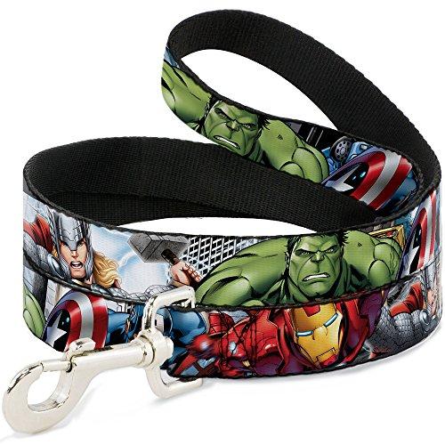 Buckle-Down Pet Leash - Marvel Avengers 4-Superhero Poses CLOSE-UP - 4 Feet Long - 1' Wide