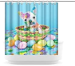 Artsbay Dog Shower Curtain Funny Animal Bathroom Curtain Puppy in Basket Picture Bath Curtain Waterproof Fabric Polyester Curtain 72x72inch