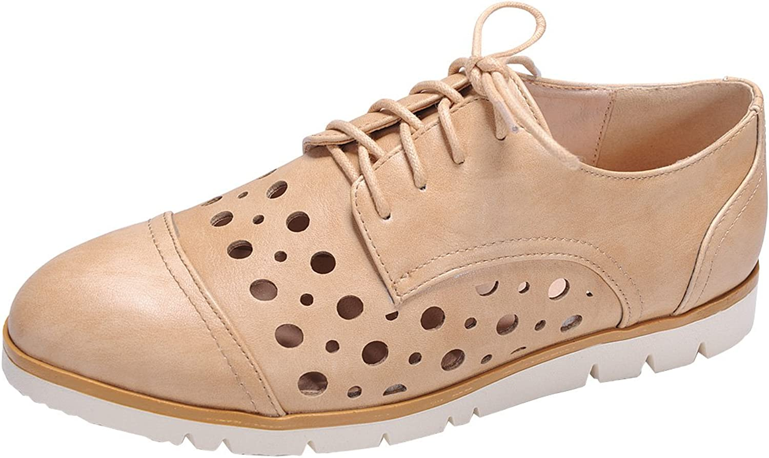 Nature Breeze Women's Perforated Laser Cut Outs Flatform Lace-Up Oxford shoes