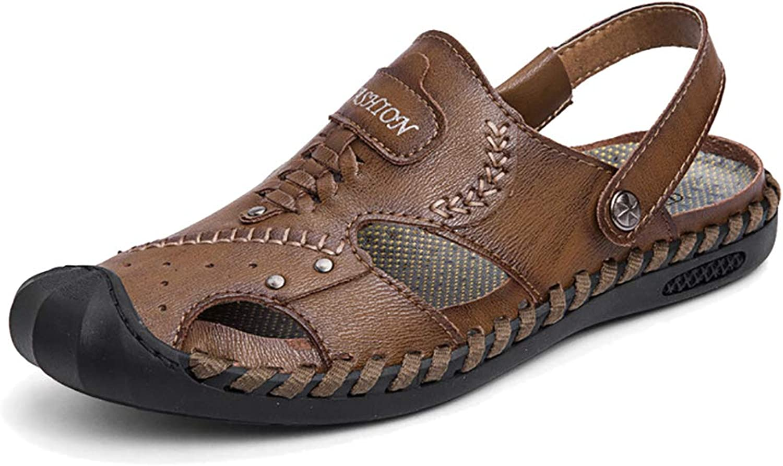 Mzq -yq herr Leisure Hollow Hollow Hollow strand skor Two Wear Sandals Closed Toe läder Sandals utomhus Anti Collision Andable Sandals Fisherman skor  till salu