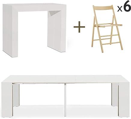 Tavolo A Consolle Pieghevole.Amazon It Tavolo Pieghevole Con Sedie Console Tavoli E Tavolini