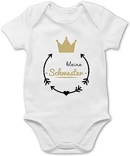 Shirtracer Geschwisterliebe Baby - Kleine Schwester - Krone - Baby Body Kurzarm für Jungen und Mädchen