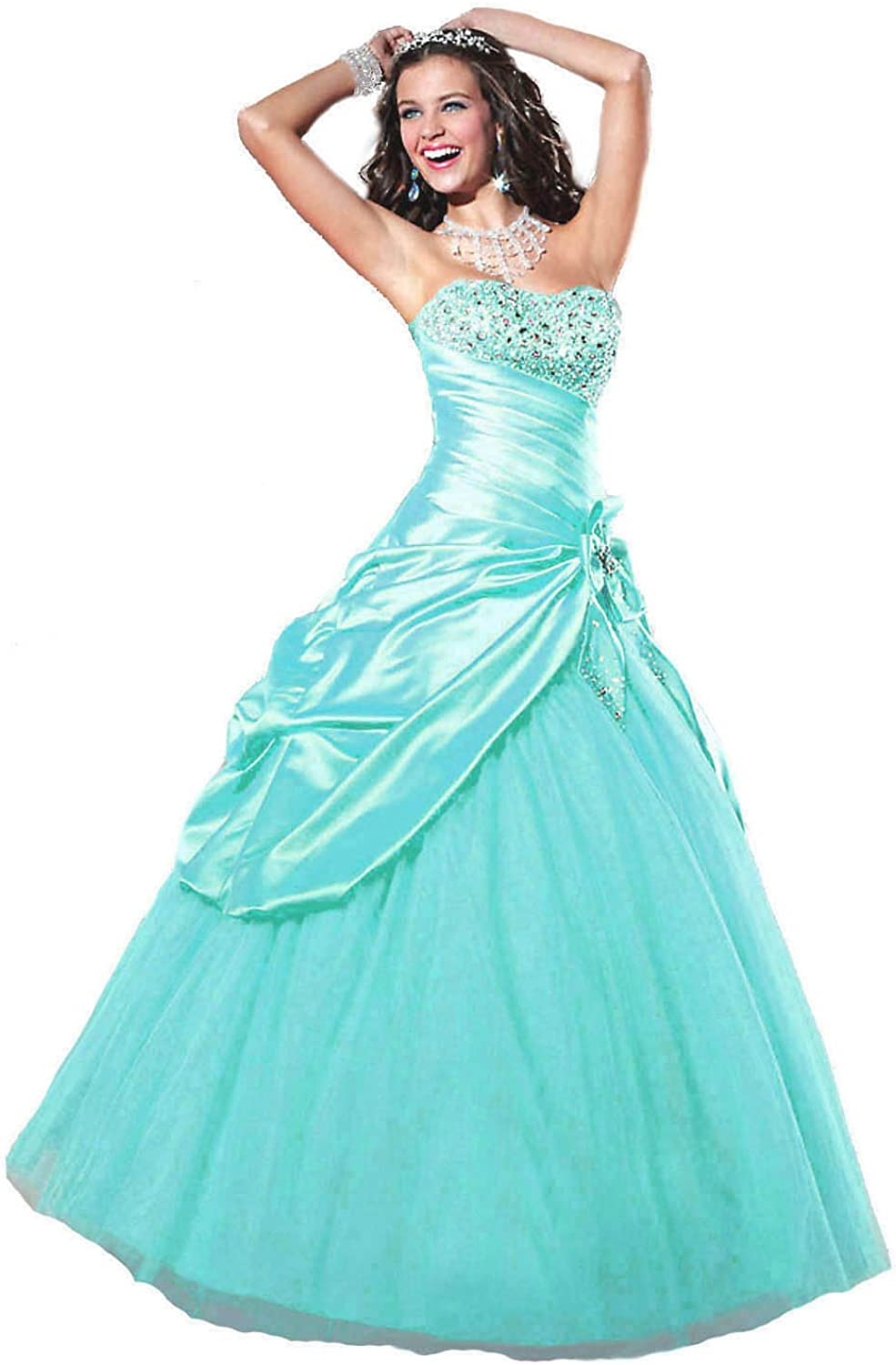 Faironly Aqua Strapless Prom Gown Dress