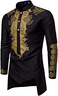 Mens Long Sleeve Dashiki Shirt, Males Loose Slim Fit Luxury African Print Button Casual Tunic Top Blouse