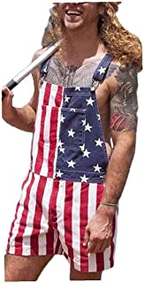 Sanfiyya Independence Day Jumpsuit Denim Splicing Bib Overalls Shorts with Pockets for Men 5xl