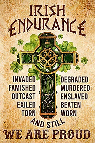 Irish Endurance We Are Proud Poster, Irish Pride, Shamrock Celtic Cross Posters No Frame & Canvas Wall Art Home Decor, Happy St Patricks Day Posters, St Patricks Day Birthday Gifts