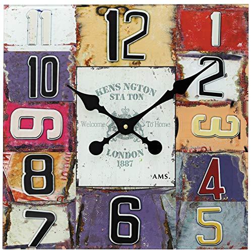 AMS - Quarzuhr - Wanduhr - bunt bedrucktes Glaszifferblatt - arabische Zahlen - Zeiger schwarz