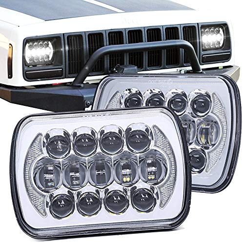 SPL Nice Looking 5  x7  7  x6  Projector Cree LED Headlights with DRL for Jeep Wrangler YJ Cherokee XJ H6054 H5054 H6054LL 69822 6052 (Chrome Pair)