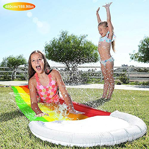 FDYD Lawn Water Slides, Rainbow Slip Slide Play Center Summer Backyard Swimming Pool Games Kids Adults Outdoor Water Toys,rainbow