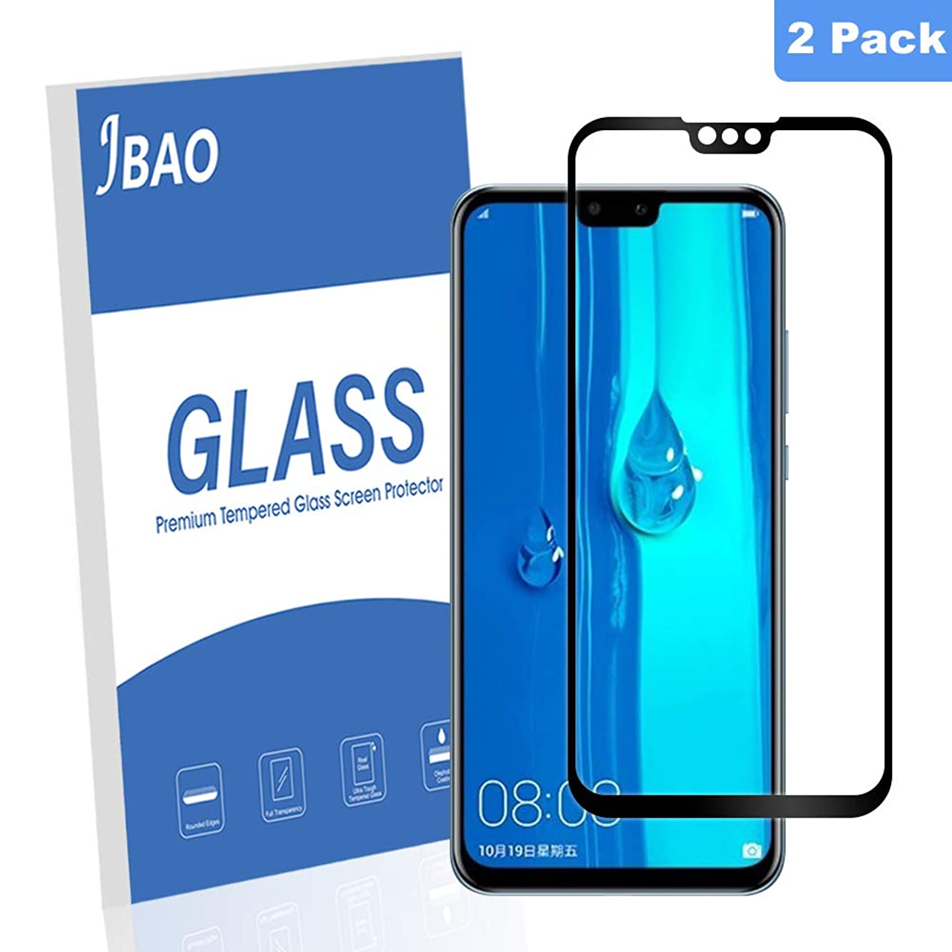 [2-Pack] Jbao Direct compatible Y9 2019 Screen Protector, 9H Hardness [Scratch Resistant][Anti-Fingerprint] [Bubble Free][Full Screen Coverage]Tempered Glass for Y9 2019 (Black)