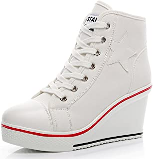 Smilety Women's Sneaker Fashion Canvas High-Heeled Shoes Pump Lace UP Wedges Side Zipper Shoes
