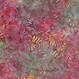 Batikstoff mit rotem tropischen Design aus 100% Baumwolle