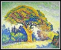 DIY 数字油絵 数字塗り絵 大人の子供のためのギフト デジタル油絵 数字キットでペイント 家の装飾のギフト 容易に - The Pine Tree at St. Tropez by Paul Signac