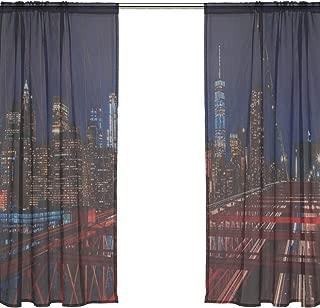 RH Studio Sheer Curtain Drape 2 Panel Brooklyn Bridge New York City Night Door Window Gauze Curtains for Living Room Bedroom Office(55x78inch)