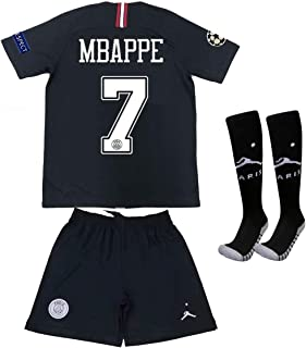 Saint George ii PSG X #7 Mbappe 2018/2019 New Away Youths/Kids Soccer Jersey & Armbands & Shorts & Socks Black/White