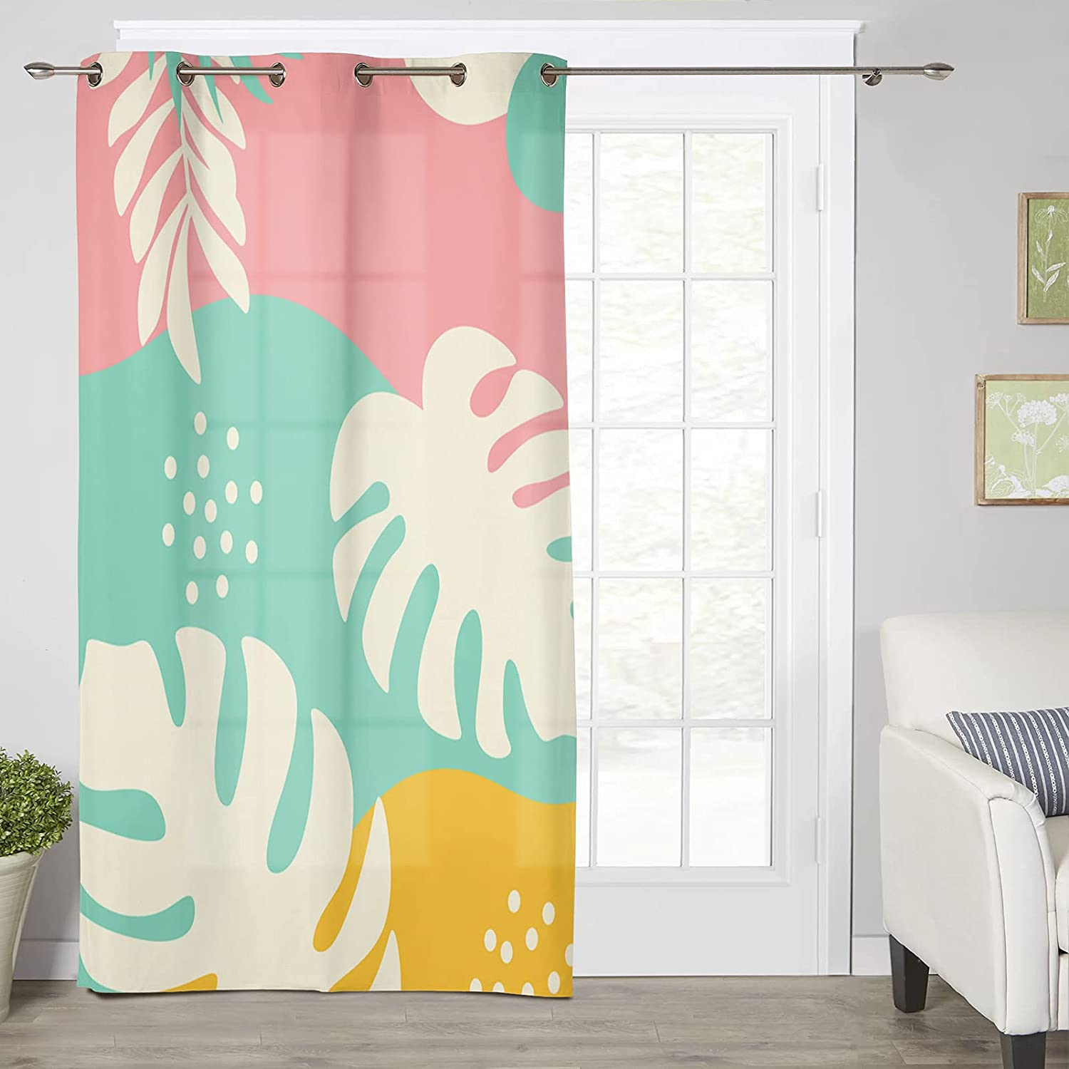 Thermal Insulated Award Window Price reduction Curtain Abstract Leaves Art Tropical Mi