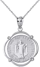 925 Sterling Silver Medalla De San Benito Saint St Benedict CZ Pendant Necklace