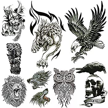 Large Temporary Tattoos for Men Body Stickers Fake Arm Chest Shoulder Leg Tattoo Cool Lion Eagle Owl Wolf Skull Waterproof Temp Tattoo Fashion Removable Tattoo Transfer Paper  8 Sheets .
