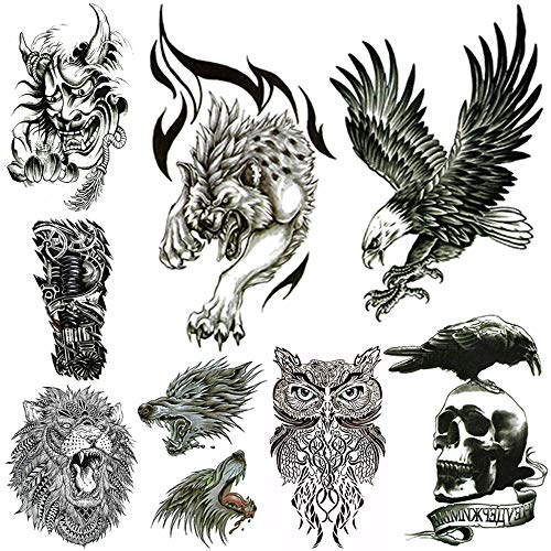 Large Temporary Tattoos for Men Body Stickers Fake Arm Chest Shoulder Leg Tattoo Cool Lion Eagle Owl Wolf Skull Waterproof Temp Tattoo Fashion Removable Tattoo Transfer Paper (8 Sheets).
