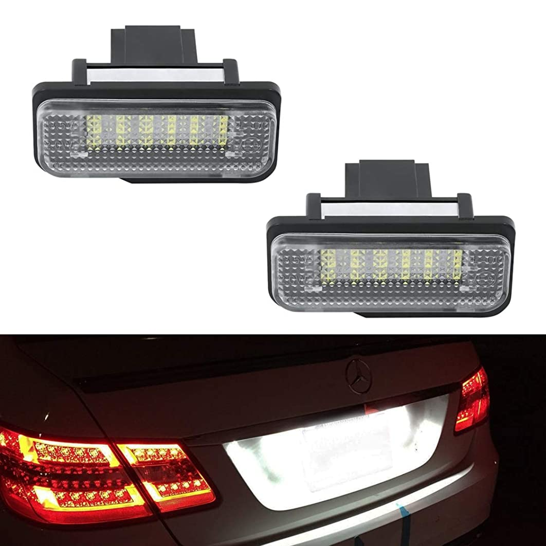 GemPro 2Pcs LED License Plate Light Lamp Assembly For Mercedes-benz C E CLS SLK Class, Powered by 18SMD Xenon White LED Light