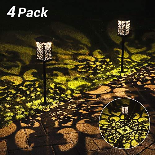 Solar Gartenleuchte für Außen,OxyLED 4 Stück 2200mAh Solar Gartenleuchte IPX5 Wasserdicht Automatisch Ein/ Aus mit Erdspieß Kunststoff,Solarlampen für Garten Patio Rasen Terrasse(Warmweiß)