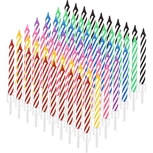 BBTO 70 Stücke Geburtstag Kerzen Spiral Kuchen Kerzen Kurze Dünne Kerzen Kuchen Cupcake Kerzen in Haltern für Geburtstag Hochzeit Party Kuchen Dekorationen, 7 Farben
