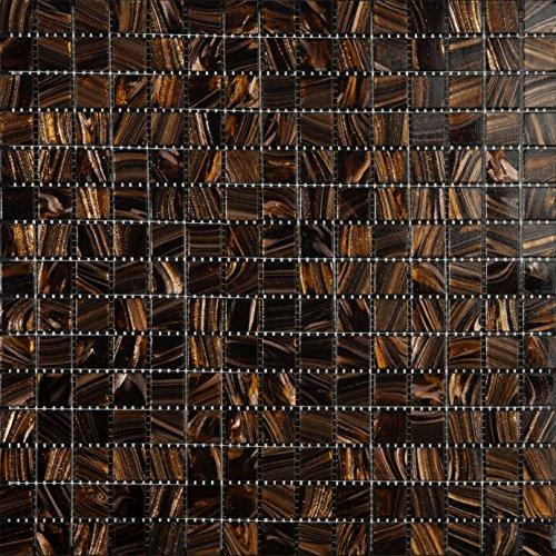 Mosaico de Vidrio en Malla DEC-74291AXU003, Marrón, 4 mm, 32.7 x 32.7 cm, Set de 10 Piezas