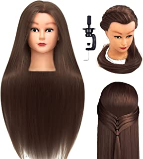 """QNQZ Mannequin Head with Hair, Styling Training Head, 26""""-28"""" Synthetic Fiber Practice Braiding Hair, Stand Hairdressers P..."""