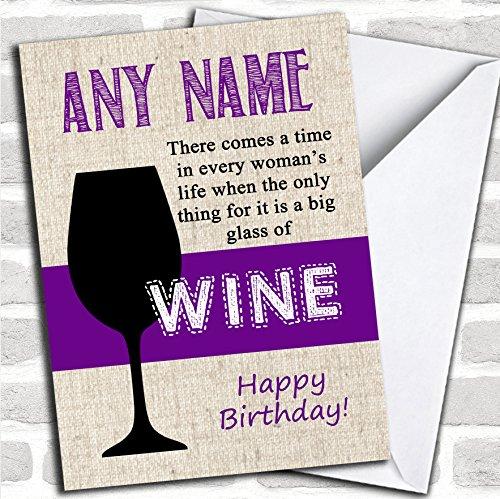 Groot glas wijn verjaardagskaart met envelop, kan volledig worden gepersonaliseerd, snel en gratis verzonden