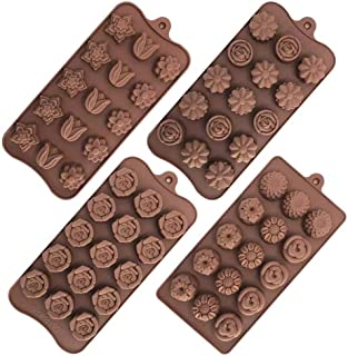 Yuniverse 4 pcs set silicon chocolate candy jelly moldes. for cake decoration.