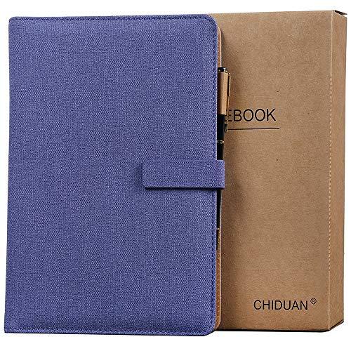 A5 Libreta de Cuero, CHIDUAN Cuaderno de Negocios Recargable, Notebook de Reuniones, Rayas/Clásico Forrado con Bolsillo y Soporte para Bolígrafo, 100 hojas de papel 100gsm (púrpura)