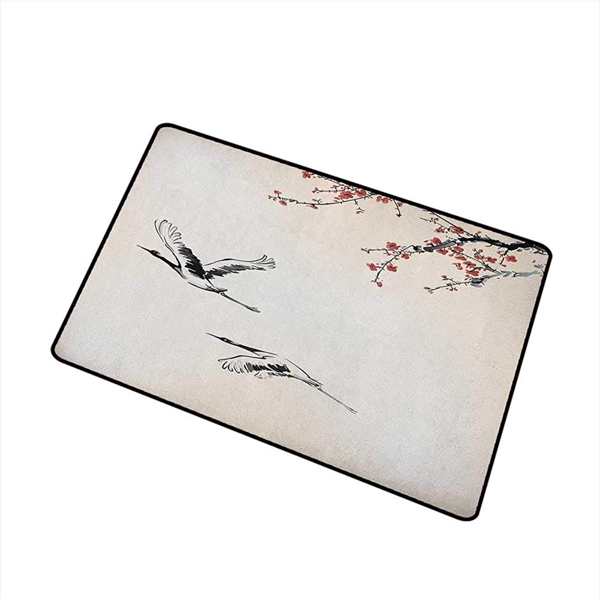 Wang Hai Chuan Birds Universal Door mat Branches of Japanese Cherry Tree with Flying Swallows in The Air Spring Colors Door mat Floor Decoration W29.5 x L39.4 Inch Red Grey Ecru