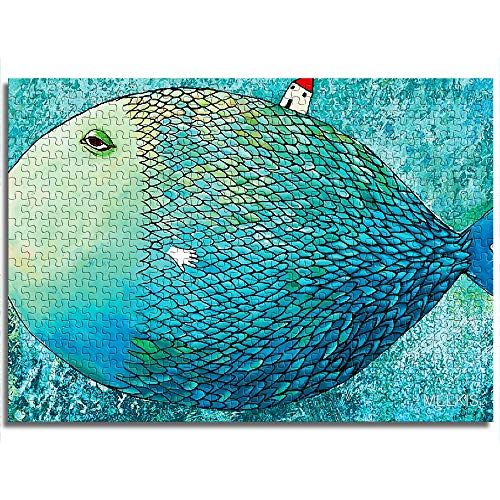 CELLYONE Piece Children's Puzzle 1000 Pieces (Fantasy Whale and Girl) Unique Jigsaw Puzzle Suitable Educational Puzzle Toys DIY Gift for Adults & Kids Challenge