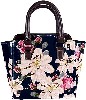 Top Handle Satchel Handbags Shoulder Bags for Women Ladies Leather Crossbody Bag with Stargazer Lily Retro Flowers Pattern Tote Satchel Purse Messenger Hobo Handbag