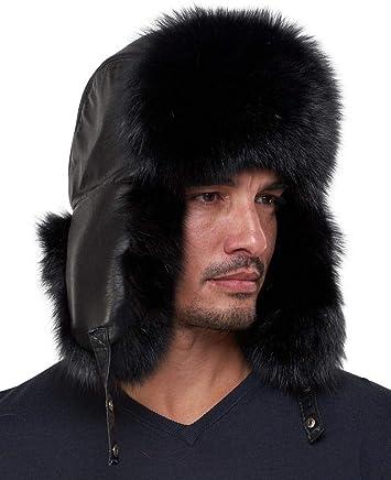 d0faab6e63e78 frr The Whistler Black Fox Fur Leather Trapper Hat