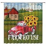 Farmhouse Duschvorhang Retro Rot LKW mit Sonnenblume Rustikal Primitive Country Western Farm Vintage Aquarell Badezimmer Dekor Vorhang 180 cm mit Haken