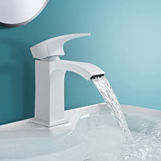 Onyzpily Basin Sink Mixer Taps Bathroom Tap Brass Single Level 1-Hole Deck Mounted White