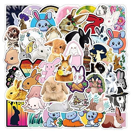 WANCHANG 50 Pz Simpatico Coniglio Cartone Animato Graffiti Adesivi Carrello dei Bagagli Due Valigie Valigia Frigorifero Adesivi per Auto