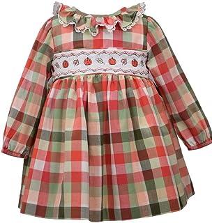 Bonnie Jean Long Sleeve Harvest Fall Buffalo Check Pumpkin Smocked Dress