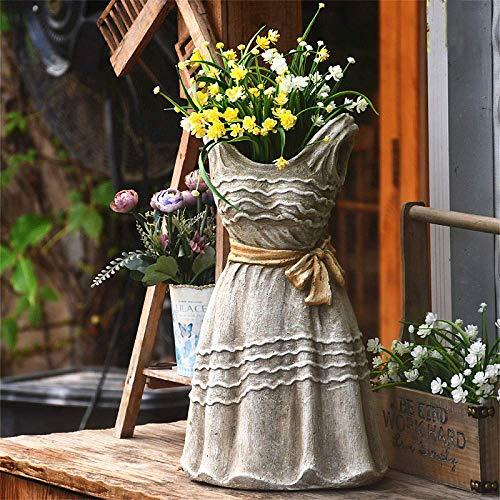 erddcbb Large Dress Fairy Garden Decor Pot Planter Garden Decoration Micro Landscape Statue Succulent Flower Pot Balcony Simple Style,B+High19inch