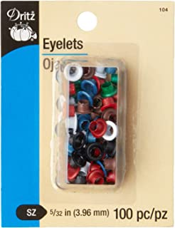Dritz 104 Eyelets, Assorted Colors, 5/32-Inch 100-Count
