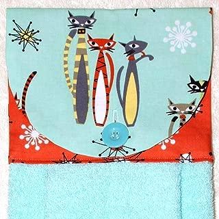 Hanging Hand Towel - Mod Cats On Aqua with Coral Starburst Accent Fabric - Plush Aqua Kitchen Towel