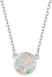 White Gold Plated Sterling Silver Minimalism Tiny Disc 8mm Ball Heart Created White Fire Opal Dainty Choker Pendant Necklace for Women Girls,16+2 inch
