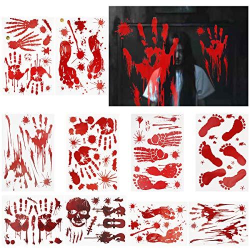 FORMIZON 10 Stück Halloween Sticker, Halloween Blutige Fensteraufkleber, Blutige Handabdrücken Fußabdrücken Horror Deko Realistischer Blut Fingerabdrücke Blutflecken Fenster Sticker