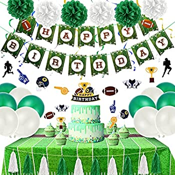 Football Birthday Party Decorations Supplies Soccer Party Supplies Include Football Birthday Banner Football Tablecloths Football Cupcake Toppers Football Hanging Swirls Balloons for Sports Birthday