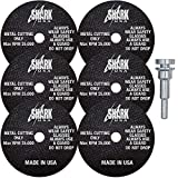 """Shark Industries USA PN-26-6M Die Grinder Cut-Off Wheel and Mandrel Kit, 3-Inch x 1/32' x 3/8"""" Shark Type-1 Double-Reinforced Thin Wheels, 54 Grit (6 Cutting Discs and 1 Mandrel)"""